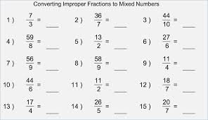 Improper Fractions to Mixed Numbers Worksheet – careless.me