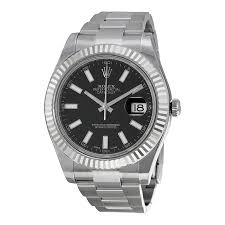 rolex datejust ii black index dial fluted 18k white gold bezel rolex datejust ii black index dial fluted 18k white gold bezel oyster bracelet men s watch 116334bkso