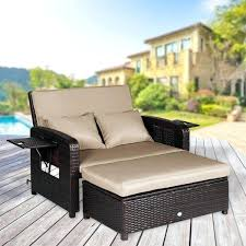 loveseats modern outdoor loveseat recliner 2 piece rattan resin storage arm ergonomic comfortable easy assembly
