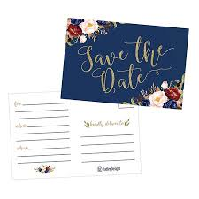 Save The Date For Wedding 25 Navy Floral Save The Date Cards For Wedding Engagement Anniversary Baby Shower Birthday Party Flower Save The Dates Postcard Invitations