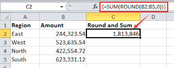 Excel Round Formulas How To Round Then Sum Values By One Formula In Excel