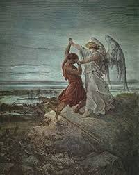 jacob wrestling with the angel by gustave doré in 1855