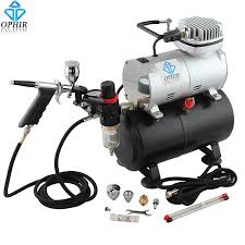 ophir 110v 220v air tank compressor with airbrush kit touch up auto spray paint for model tattoo hobby car paint ac090 ac069 in temporary from