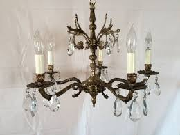 antique vintage brass crystal chandelier made in spain 1930s gallery 18 of 20
