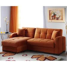 Orange Living Room Furniture Chrome Metal Frame For L Shaped Gray Microfiber Sleeper Sofa With