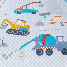 construction truck diggers crane duvet cover set