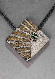 wolfgang vaatz square ocean pendant pendant in california placer gold fused to carved