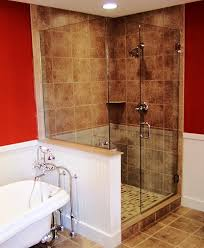 belfast frameless shower door belfast with notched panel and mitered return on half wall