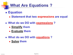 what are equations equation statement that two expressions are equal