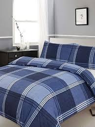 Double Bed Duvet / Quilt Cover Bedding Set Hamilton Check Blue ... & Double Bed Duvet / Quilt Cover Bedding Set Hamilton Check Blue Checked /  Striped by Ashley Adamdwight.com