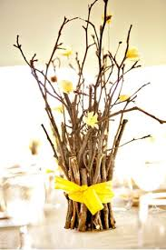 Paper Flower Branches Small Branches Wrapped In Ribbon Centerpieces