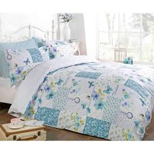 BUTTERFLY FLORAL PATCHWORK DUVET COVER - Reversible White Teal ... & BUTTERFLY FLORAL PATCHWORK DUVET COVER - Reversible White Teal Blue Bedding  Set Teal Blue & White Adamdwight.com