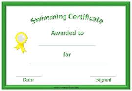 Free Swimming Certificates