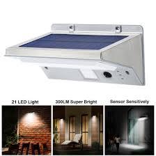 led solar powered motion wall light pir sensor garden yard security lamp