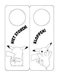 Pokemon Paradijs Kleurplaat Pikachu Deurhanger