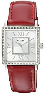 guess w0664g6 men s red leather band with white og dial watch nwt