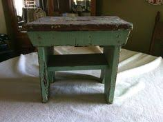 Early Antique Primitive Old Green Painted Wood Small Milk Stool Bench Wooden H69