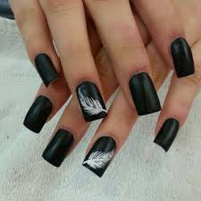 black with whispy white feather accent would be beautiful in black matte nail art nail design nails nails nail designs nail art