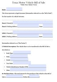 Dmv Bill Of Sale Free Texas Motor Vehicle Bill Of Sale Form PDF Word Doc 19
