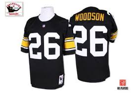 Team Black Rod Authentic Steelers Jersey Pittsburgh Throwback - Color And Mitchell Ness Woodson Men's