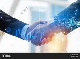 Hand Reflection Chart Business Man Shaking Image Photo Free Trial Bigstock