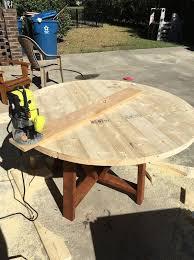 diy round trestle dining table diy