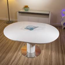 modern dining table white gloss round oval extending 1050 1350mm new