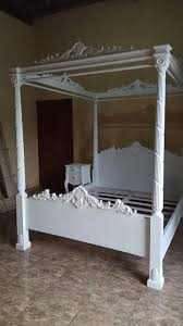 Solid Wooden French Style Antique White Four Poster Canopy Bed - Buy Poster Bed,French Bed,Four Poster Canopy Bed Product on Alibaba.com