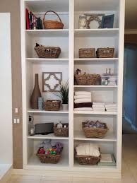furniture charming storage shelves with rattan baskets for