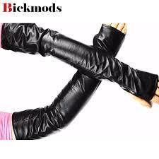 2019 2017 long leather gloves new fashion women half finger sheepskin over elbow length velvet lining warm mittens from stirringoa 33 72 dhgate com