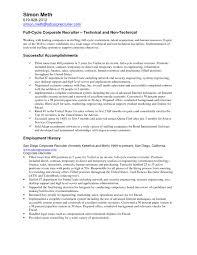 Resume For Recruiter Reference Hr Recruiter Resume Sample