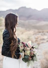 bride wearing a leather jacket coffee creative photography