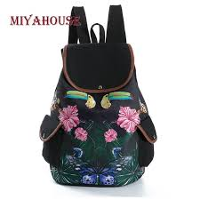 Miyahouse Vintage Butterfly Leaves <b>Print</b> Backpacks Female ...