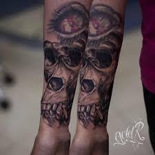 татуировки череп обезьяны в стиле реализм черно серая чикано