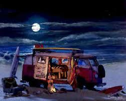 volkswagen van art. image is loading vw-bus-art-print-painting-night-beach-campfire- volkswagen van art