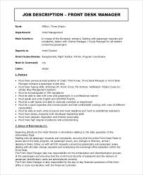 superior front desk job luxury description for manager sample 10 examples in word