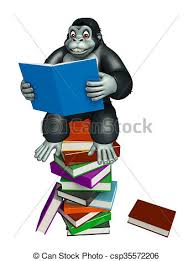 cute gorilla cartoon character with book stack csp35572206