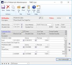 What Is A Bill Of Materials Inventory Bill Of Materials In Microsoft Dynamics Gp