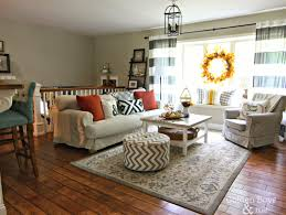 Fall decor in living room with Ikea hack plank coffee table and striped  drapes-www