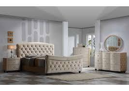 diamond furniture. Diamond Golden Beige Velvet King Sleigh Bed W/Dresser, Mirror \u0026 Nightstand,Meridian Furniture N