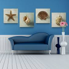 Painting Canvas For Living Room Canvas Painting 4panels The Sea Shells Painting Canvas Living Room
