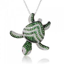 details about 0 99ct green sapphire diamond turtle pendant 14k white gold over 18 chain
