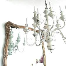 distressed chandelier white hanging light large by wooden wood orb