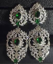 18k white gold chandelier earrings w swarovski crystal emerald green marquise
