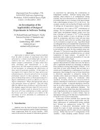 Design Of Experiments Software Testing Pdf An Investigation Of The Applicability Of Design Of