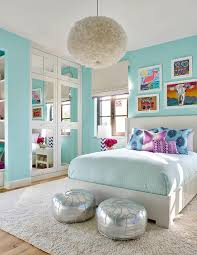 turquoise blue girl bedroom with mirrored closet doors