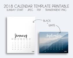 Calendar Template Png 2018 Calendar Template Printable Calendar Template Etsy