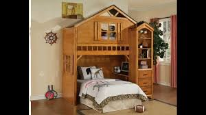Tree house style rustic oak finish wood kids loft bed bunk bed set