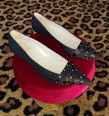Louboutin Shoe Size Conversion Chart Vintage Christian Louboutin Black Crepe Fabric Satin Ribbon Pearl Kitten Heel Shoes Pumps