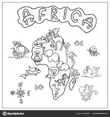 Afrika Continent Kids Kaart Kleurplaat Stockfoto Nuarevik 161983692